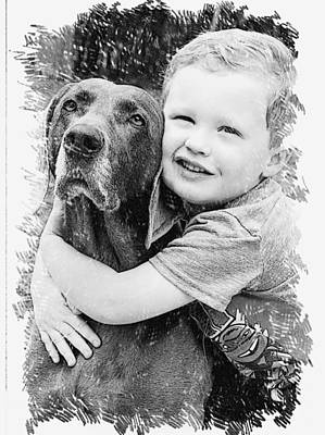 Digital Art - A Boy And His Dog by Bonnes Eyes Fine Art Photography