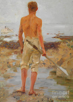 Wistful Painting - A Boy With An Oar  by Henry Scott Tuke