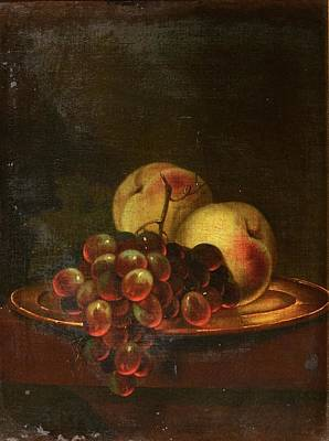 A Brass Platter Of Peaches And Bunch Of Grapes Art Print by MotionAge Designs