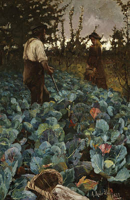 Cabbage Painting - A Cabbage Garden by Arthur Melville