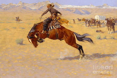 Perspective Painting - A Cold Morning On The Range by Frederic Remington