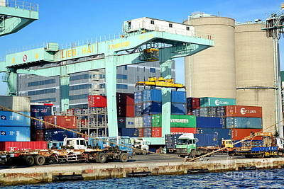 Photograph - A Container Is Loaded In Kaohsiung Port by Yali Shi