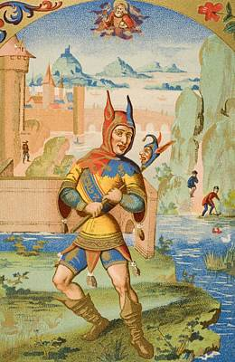 Joke Drawing - A Court Fool Of The 15th Century. 19th by Vintage Design Pics