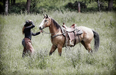 Photograph - A Cowgirl And Horse by Athena Mckinzie