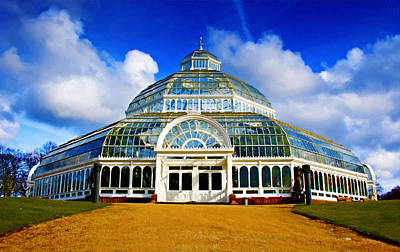 Glass Oil Dome Painting - A Digital Painting Of Sefton Park Palm House Liverpool England by Ken Biggs