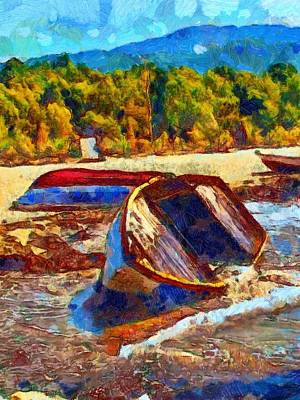 Aground Painting - A Digitally Constructed Painting Of A Beached Fishing Boat In Van Gogh Style by Ken Biggs