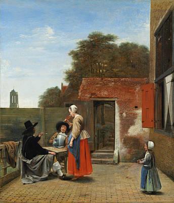 Outdoor Still Life Painting - A Dutch Courtyard by Pieter de Hooch