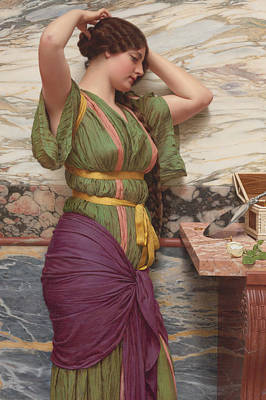 A Fair Reflection Art Print by John William Godward