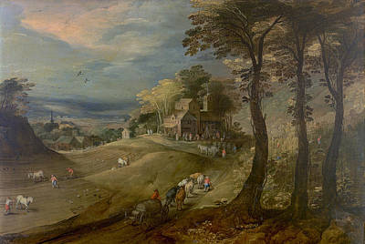 Agriculture Painting - A Farm by Jan Brueghel the Elder