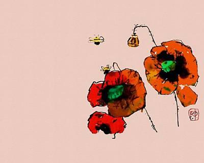 Digital Art - A Few Poppies by Debbi Saccomanno Chan