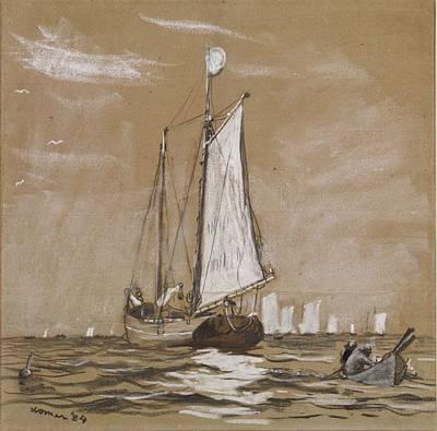 Winslow Homer Drawing - A Fishing Schooner by Winslow Homer