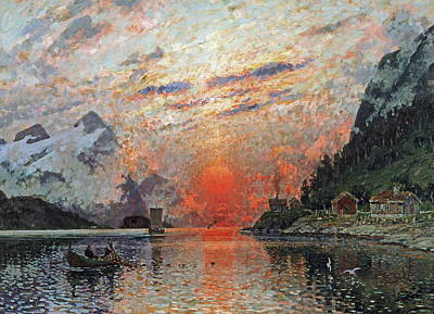 Norwegian Sunset Painting - A Fjord by Adelsteen Normann