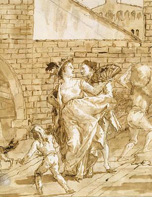 Drawing - A Flirtation by Giovanni Domenico Tiepolo
