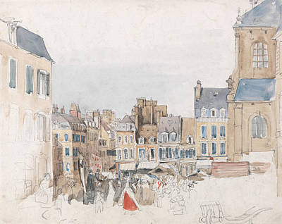 French Market Painting - A French Market Place by David Cox