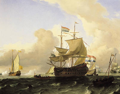 Painting - A Frigate And Other Vessels On A Rough Sea by Ludolf Bakhuizen