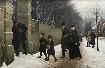Cemetery Painting - A Funeral by Frants Henningsen