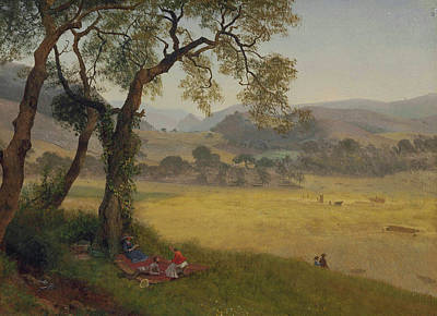 A Golden Summer Day Near Oakland Art Print by Albert Bierstadt