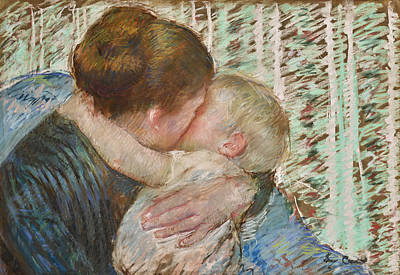 Drawing - A Goodnight Hug by Mary Stevenson Cassatt