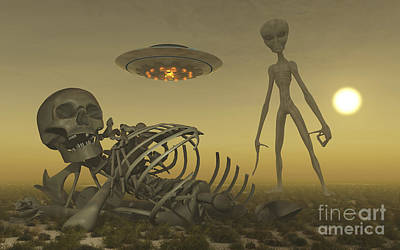 Carcass Digital Art - A Grey Alien Looking At Humanoid by Mark Stevenson