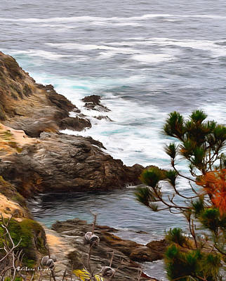 Waterscape Painting - A Grey Day At Big Sur 2 by Barbara Snyder