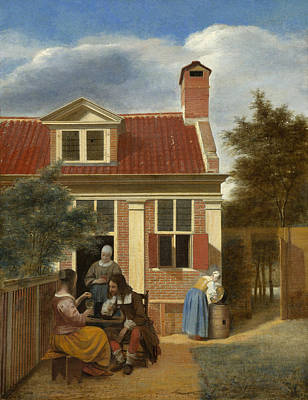 Drinking Painting - A Group At The Site Behind A House by Pieter de Hooch