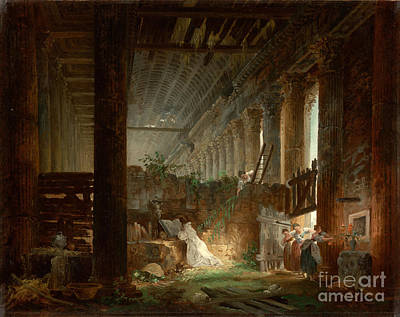 Praying Painting - A Hermit Praying In The Ruins Of A Roman Temple by Celestial Images