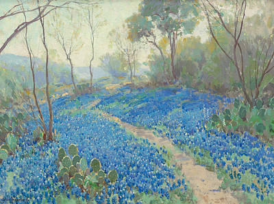 Painting - A Hillside Of Blue Bonnets - Early Morning, Near San Antonio Texas by Julian Onderdonk