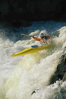 A Kayaker Speeds Down One Of The Falls Art Print