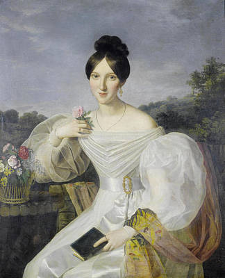 Shawl Painting - A Lady In A White Dress And Shawl by Georg Waldmuller