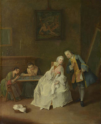 Pietro Longhi Painting - A Lady Receiving A Cavalier by MotionAge Designs