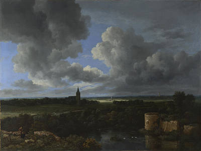 Chateau Painting - A Landscape With A Ruined Castle And A Church by Jacob van Ruisdael
