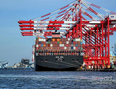 Photograph - A Large Container Ship In Kaohsiung Port by Yali Shi