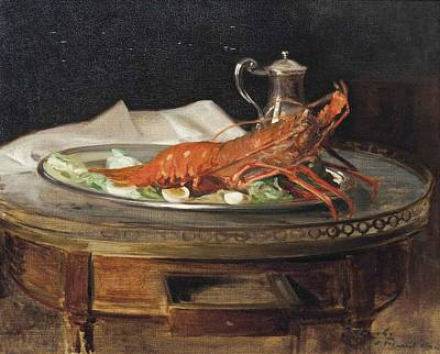 A Lobster On A Silver Salver Art Print