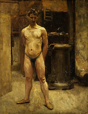Painting - A Male Model Standing Before A Stove by John Singer Sargent