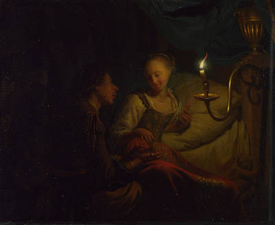 A Man Offering Gold And Coins To A Girl Art Print by Godfried Schalcken