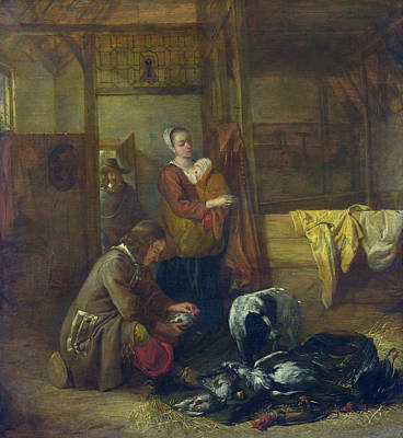 Working Painting - A Man With Dead Birds, And Other Figures, In A Stable by Pieter de Hooch
