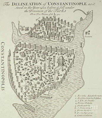 Istanbul Drawing - A Map Of Constantinople In 1422 by Cristoforo Buondelmonti
