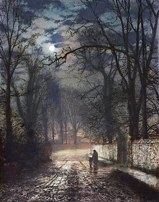 Silver Moonlight Painting - A Moonlit Lane by John Atkinson Grimshaw