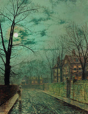 Victorian Era Wall Art - Painting - A Moonlit Road by John Atkinson Grimshaw