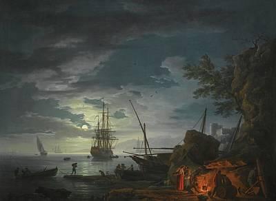 Claude Painting -  A Moonlit Seascape by Joseph Vernet