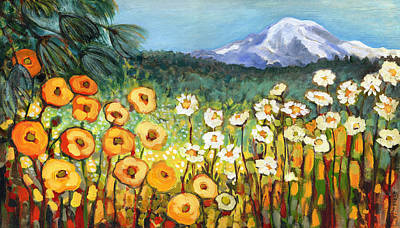 Poppies Painting - A Mountain View by Jennifer Lommers