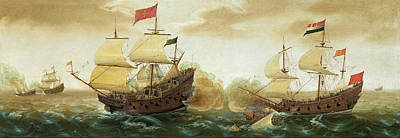 Painting - A Naval Encounter Between Dutch And Spanish Warships by Cornelis Verbeeck