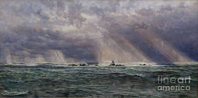 North Sea Painting - A North-west Gale Off The Longships Lighthouse by Celestial Images