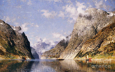 Scandinavia Painting - A Norwegian Fjord  by Adelsteen Normann