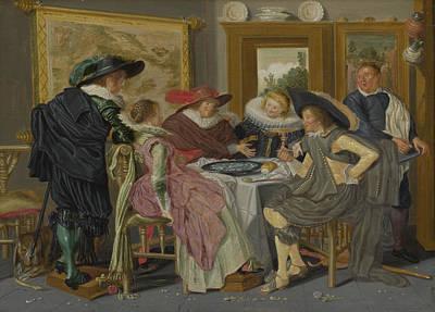 Digital Art - A Party At Table by Dirck Hals