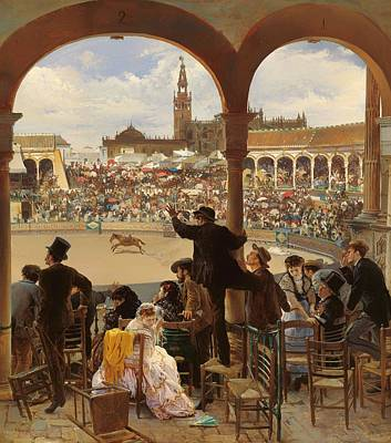 Stadium Crowd Painting - A Pass In The Bullring by David Mark