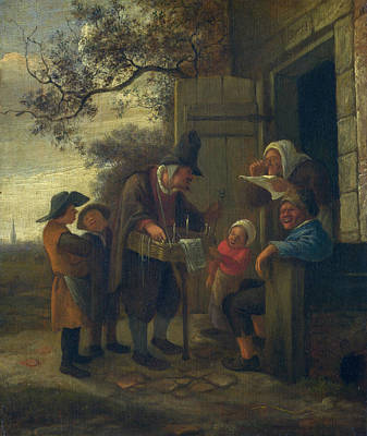 Baroque Painting - A Pedlar Selling Spectacles Outside A Cottage by Jan Steen