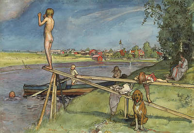 Diving Board Painting - A Pleasant Bathing Place by Carl Larsson