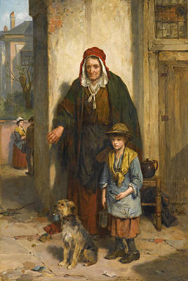 Thomas Faed Painting - A Poor Beggar Bodie by Thomas Faed
