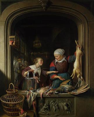 Carcass Painting - A Poulterer's Shop by Gerrit Dou